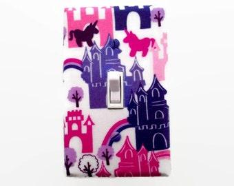 Princess Light Switch Cover - Castle Switch Plate - Girls Princess Bedroom - Pink Purple Room Decor - Unicorn Switch Plate - Fairytale
