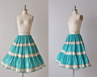 Aqua Blue Mexican Circle Skirt / Full Skirt / 1950s Patio Skirt / 50s Skirt / Gauzy Cotton Skirt