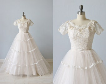 Vintage 1950s Wedding Dress / Blush Pink Wedding Dress / Lace and Tulle Wedding Dress / Blushing Bride