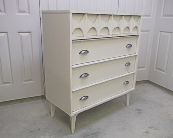 Chest of Drawers, White Mid Century Modern Style - Chic DR704 Shabby Farmhouse Cottage Chic, Nursery Furniture