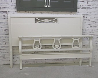 FULL / DOUBLE Size Sleigh Bed Frame, Distressed White - Chic BD901 Shabby Farmhouse Chic