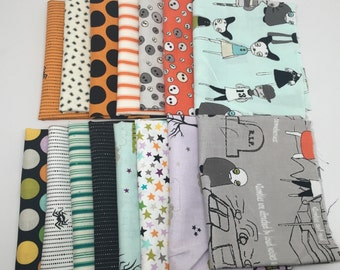 SUMMER Sale - Fat Eighths Bundle (15) - Various Halloween Collections - Riley Blake Designs