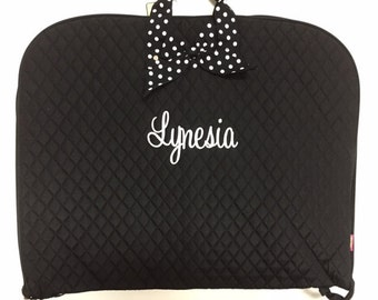 Personalized Quilted Garment Bag Dance Ballet Cheer Pageant Black/White