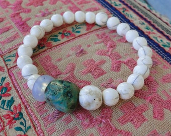CONCH SHELL with TURQUOISE Nugget and Glass Bead Bracelet, yoga, boho, tribal