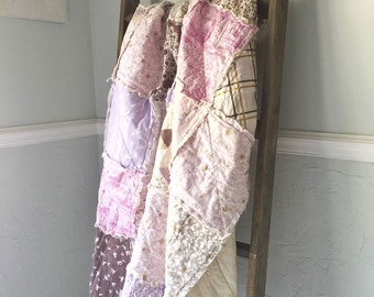 Lap Quilt, Throw, Rag, Brambleberry Ridge, comfy cozy handmade home decor, Granny Chic in Modern fabrics, lavender, READY TO SHIP