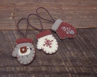Miniature Felt Mitten Ornaments