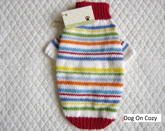 Bright Dog Sweater, Hand Knit Pet Sweater, Full Length Sweater, Size SMALL, Fiddlesticks Red