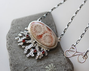 Large Red sapphire Necklace/ Fossil Coral/ Natural Coral Necklace/ Barnacle/ Sterling/Ocean Inspired/Statement Necklace/ GiftsForHer