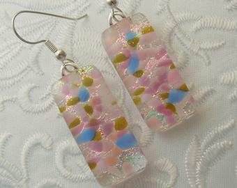 Dichroic Fused Glass Earrings - Glass Earrings - Dichroic Earrings - Dichroic Jewelry - Cute Earrings - Pink Earrings - Mosaic Tiles X7625