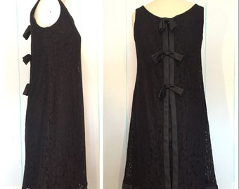 Black Lace Shift Dress Size 8