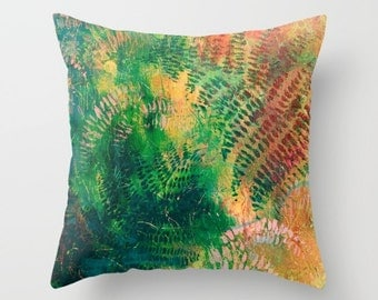 Colorful fern pillow, painted ferns pillow, abstract foliage, green fern design, hand painted fern, modern fern art, nature theme decor