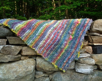 hand knit blanket wool art yarn blanket - forest blanket - naptime