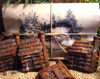 Rustic Log Cabins, Scented Beeswax Melts Primitive Gift Package Primitive Christmas Gift Scented Wax Melts Christmas Wax Melts Cupboard Tuck