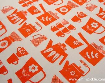 SALE Emily Pickle Retro Kitchen Screen Printed Tea Towel in Orange - housewarming, wedding, christmas, birthday gift - orange