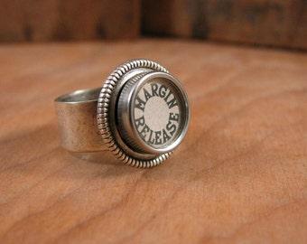 Type Key Jewelry - Typewriter Key Jewelry - MARGIN RELEASE - Kitschy and Fun White Glass Top Typewriter Key Ring