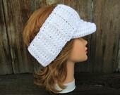 White Sun Visor - Women's Visor Head Wrap - Brimmed Ear Warmer - Crochet Sun Visor - Brim Headband - Crochet Accessories