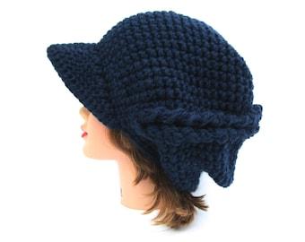 Crochet Newsboy Hat - Navy Blue Cap - Asymmetrical Hat - Brimmed Beanie - Hat With Brim - Slouchy Hat - Chunky Beanie - Crochet Accessories