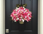 Wreaths, Spring Wreaths, Tulip Wreath, Home Decor, Wreath, Mother's Day Tulips, Spring Tulip Wreath, Pink Tulips, Bucket of Spring Tulips