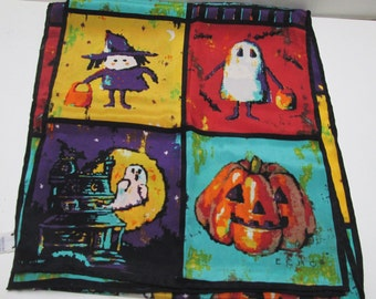 Silk Scarf Halloween Long Narrow Witch Shawl Wrap Vintage Silk Ascot Scarf Sash by Echo, Purple Turquoise, Orange Black
