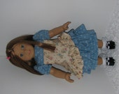 Blue and Tan Ruffled Skirt and Top, Fits 18 Inch American Girl Dolls