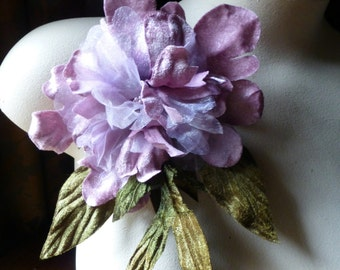 SALE Lilac Peony Silk Organdy and Velvet Millinery Flower for Bridal, Millinery