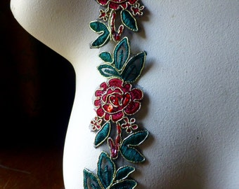 "18""  Red & Green Beaded Trim for Lyrical Dance, Holiday, Christmas, Costume  Design, Crafts TR 250"