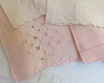 Linen Guest Towels in Pink Mix and Match Set of 4