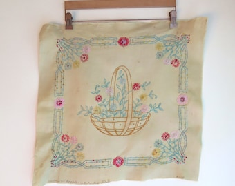 """Embroidered Pillow Panel On Cotton Basket of Flowers 20"""" x 19"""""""