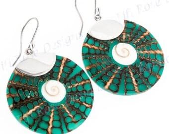 "1 1/4"" Turquoise Green Shiwa Cone Shell Dangling 925 Sterling Silver Earrings"