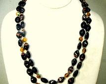 BLACK ART Glass Bead Necklace, Mad Men 2 Strand  w  Copper Striped Flecks n Aurora Borealis Amber Accent Beads, 1960s, GORGEOUS