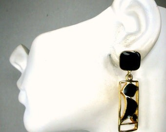 Vintage Enamel Earrings,  Gold n Black Dangle Posts, 1980s Art Deco Abstract Classic, Never Used