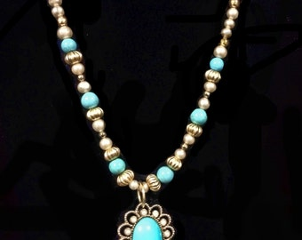 Necklace/Pin Made from Vintage 50s or 60S beads, faux pearls and pendant