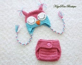 Newborn Baby Girl Crochet Sleepy Owl Hat and Diaper Cover Set Pink and Teal