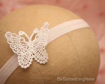 Baby Headband with Vintage Lace Butterfly, Kids Stretch Hair Accessory Lace Baby Headband, Flower Girl Headband, Photo Prop Hair Accessory