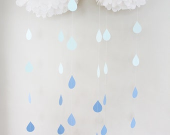 Raindrops Paper Garland Blue Ombre - Set of 6 or By the Strand - April Showers, Baby Showers, party decorations