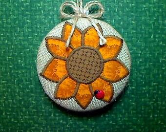 Reversible Sunflower Ornament | Fall Decor | Decoration | Folk Art | Party Favor | Holidays | Thanksgiving | Tree Ornament | Handmade | #4