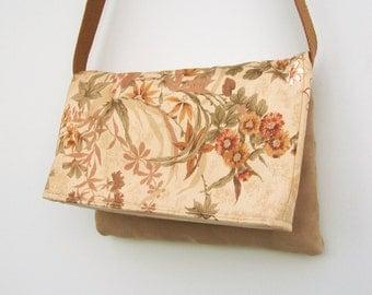 Gold and Cream Floral Messenger Bag, Faux Suede Purse, Foldover Messenger Bag, Back To School Bag, Shoulder Bag, Floral Crossbody, Medium