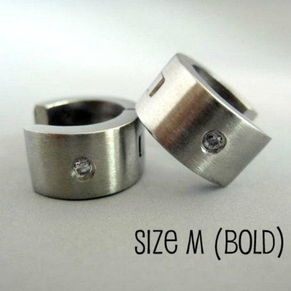 Men's hoop earrings, extra wide diamond huggie hoop earrings, diamond cz center stone, huggie hoop earrings for men, steel hoop earring, 171