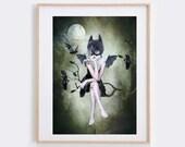 Bat Girl Art Print - Goth Girl Print - Wall Decor - Wall Art - Moonlighting
