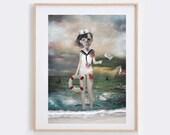 Lowbrow Art - Art Print- Sailor Girl Print - Wall Decor - Last Chance