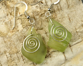 Hand forged sterling silver spirals and authentic Maine sea foam sea glass earrings