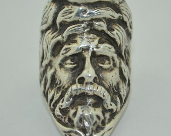 Amazing Sterling Silver Art Deco Turban Man Face Ring