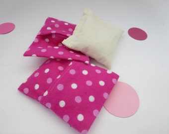 Pocket Hand Warmer Set - Pink Flannel Slip Cover Pocket Warmer with Cotton bag filled with rice or flax seed