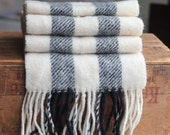 Skifter of Copenhagen Pure wool made in Denmark vertical stripe Scarf, black grey white