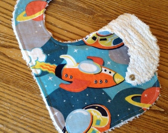 Flannel & Chenille Baby Bib, Snap Closure.  Rocket, Scaceship, Outerspace