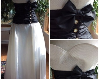 Vintage evening gown black and white taffeta