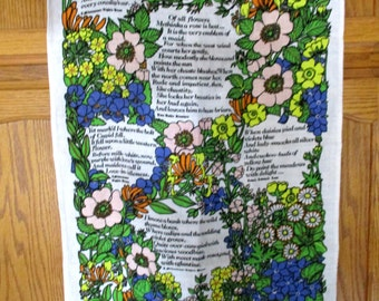 Vintage Tea Towel Shakespeare Flowers Lamont Linen Dish Cloth