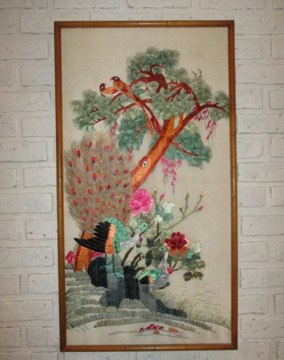 Vintage Chinese Asian Silk Embroidery Panel Wall Art Hanging