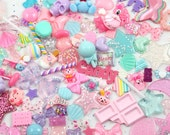 Kawaii Resin Cabochons, 100 pieces - Pastel Magical Sparkle Pink Fairy Kei Decoden Set - Resin Flatback Cabochon and Pendant Mix