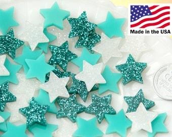 15mm Mini Stars Aqua Blue Teal Mix Resin or Acrylic Cabochons - 20 pc set